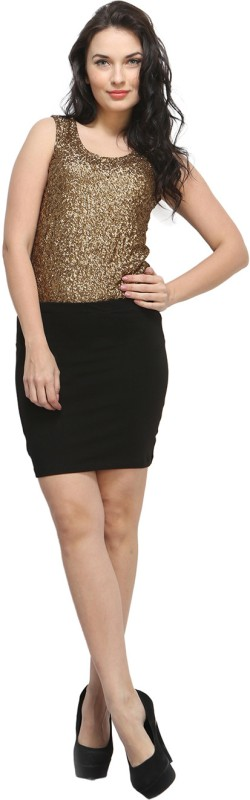 FabAlley Formal Sleeveless Solid Women's Gold Top