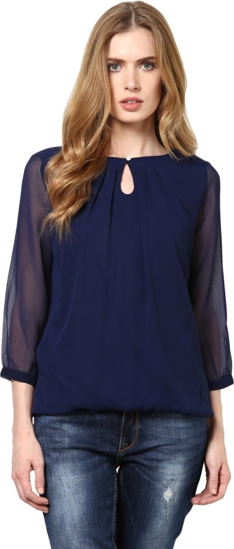 Harpa Casual 3/4 Sleeve Solid Women Dark Blue Top