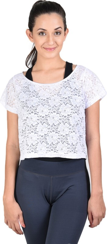 Onesport Casual Short Sleeve Self Design, Lace Women White Top