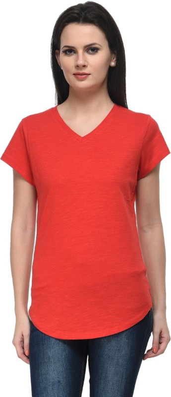 Frenchtrendz Casual Cap Sleeve Solid Women Red Top