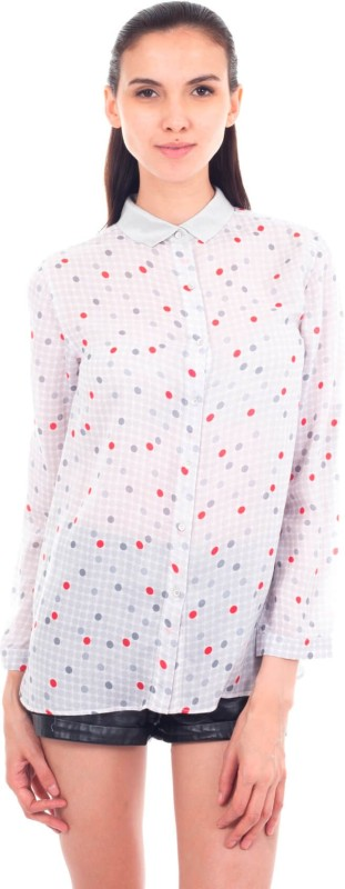 9teen Again Casual Full Sleeve Polka Print Women White Top