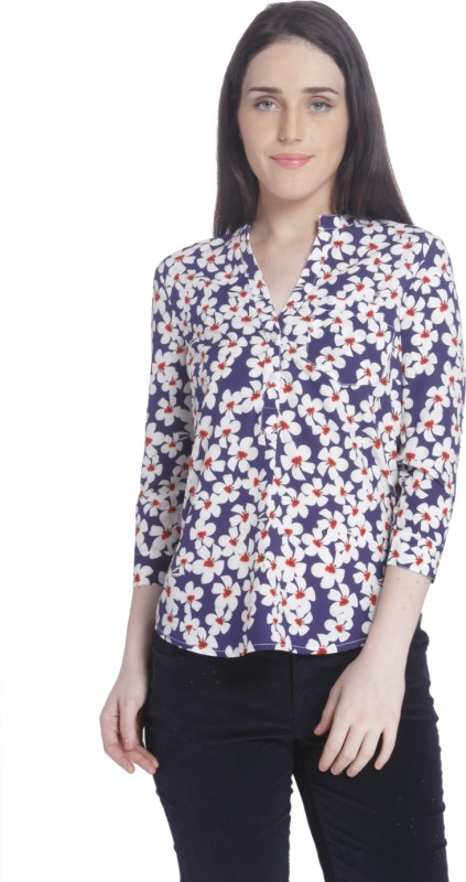 Vero Moda Casual Full Sleeve Floral Print Women's Blue Top