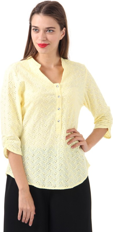 Just In Time Casual 3/4 Sleeve Self Design Women Yellow Top