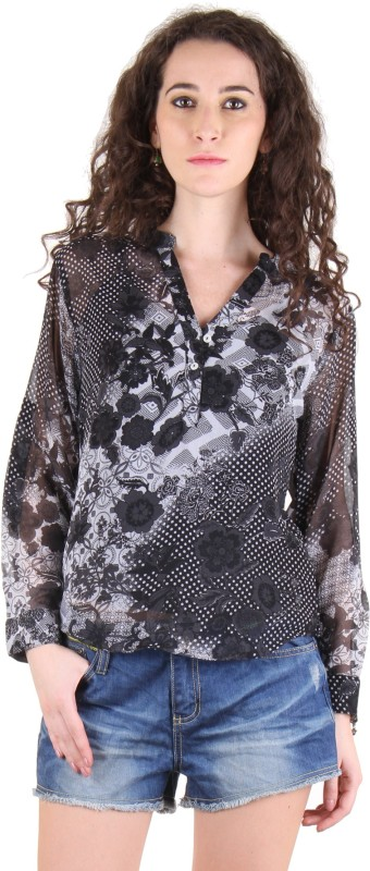 Chimera Casual Full Sleeve Floral Print Women Grey Top