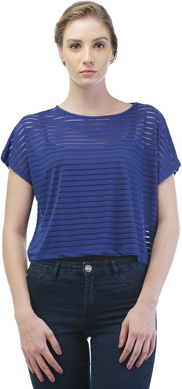 Merch21 Casual Short Sleeve Striped Women Blue Top
