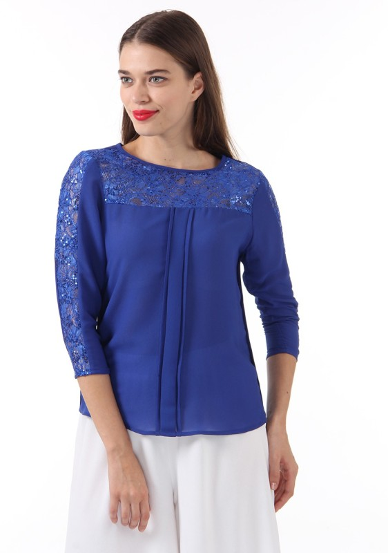Just In Time Casual 3/4 Sleeve Solid Women Dark Blue Top
