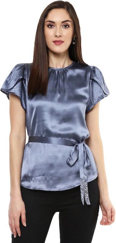 Sassafras Party Puff Sleeve Solid Women Grey Top