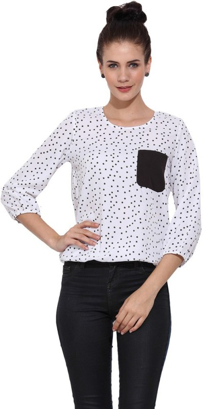 Trend Arrest Casual 3/4 Sleeve Printed Women Black Top