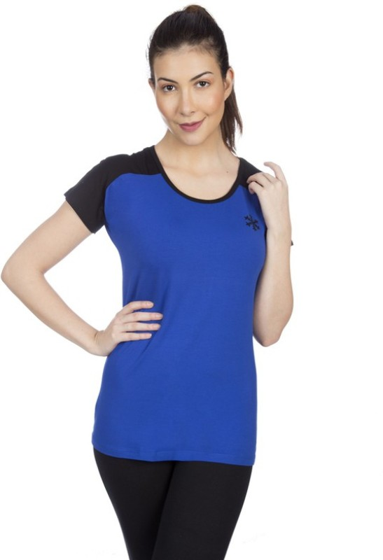 Goldstroms Casual Short Sleeve Solid Women Dark Blue Top