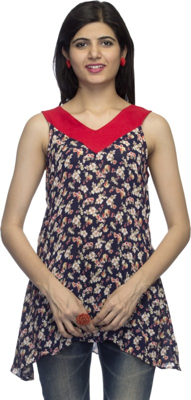 Indietoga Party Sleeveless Floral Print Women Blue Top