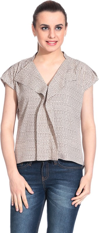 Rute Formal Short Sleeve Printed Women Brown Top