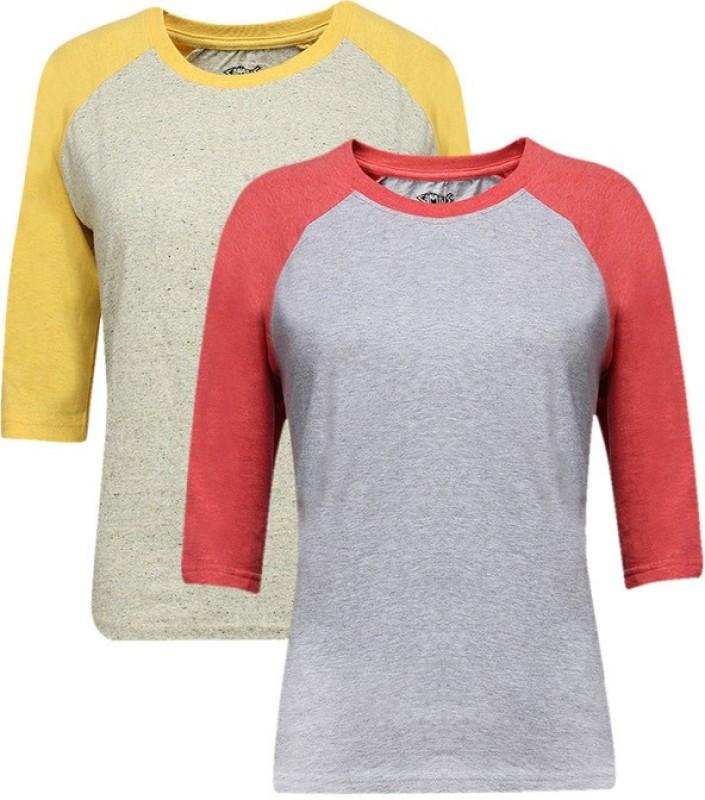 Campus Sutra Casual 3/4 Sleeve Solid Women Multicolor Top