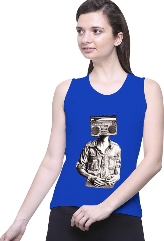 Uptown18 Casual Sleeveless Printed Women's Blue Top