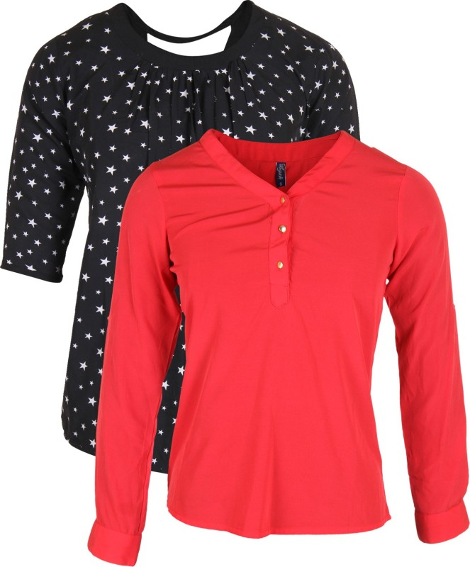 Vvoguish Casual 3/4 Sleeve Solid Women Red, Black Top