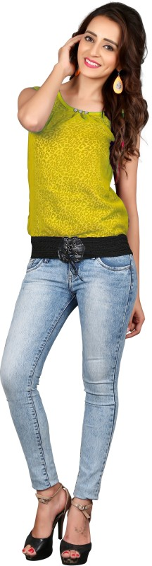 Parisha Casual Sleeveless Printed Women Yellow Top