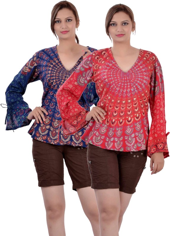 Indi Bargain Casual Full Sleeve Printed, Floral Print Women Dark Blue, Red Top