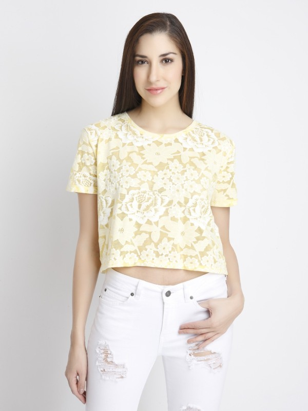 Vero Moda Casual Short Sleeve Self Design Women Yellow Top
