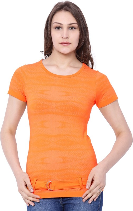C9 Casual Short Sleeve Printed Women Orange Top