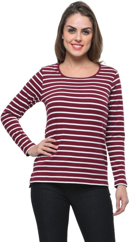 Frenchtrendz Casual Regular Sleeve Striped Women Maroon, White Top