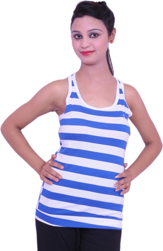 Jevaraz Casual Sleeveless Striped Women Light Blue, White Top