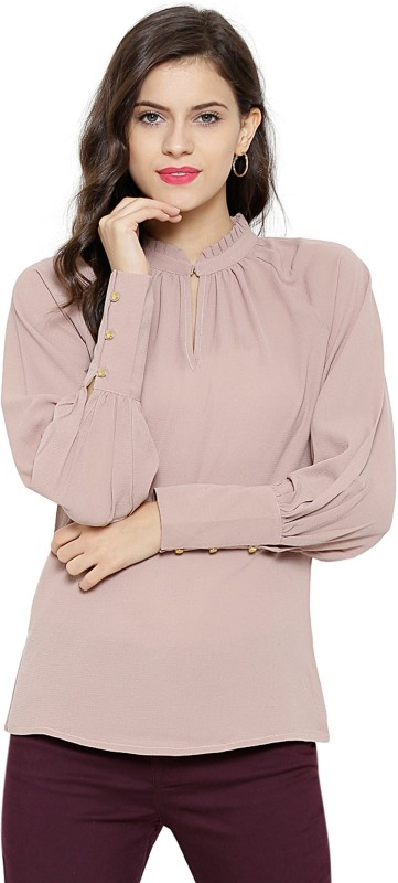 Sassafras Casual Bishop Sleeve Solid Women Brown Top