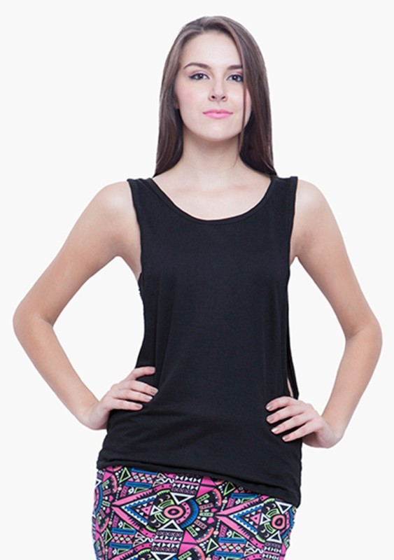 FabAlley Casual Sleeveless Solid Women's Black Top