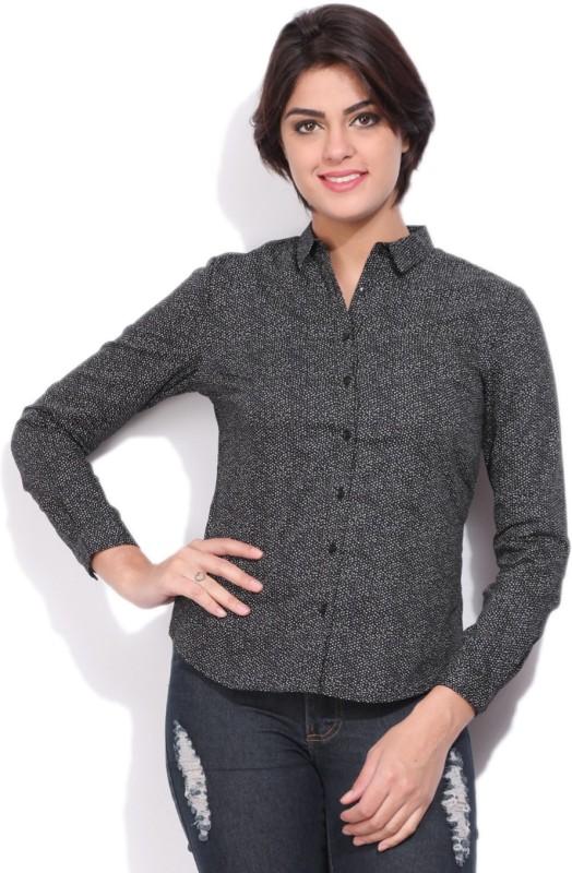 Allen Solly Womens Polka Print Casual Black Shirt