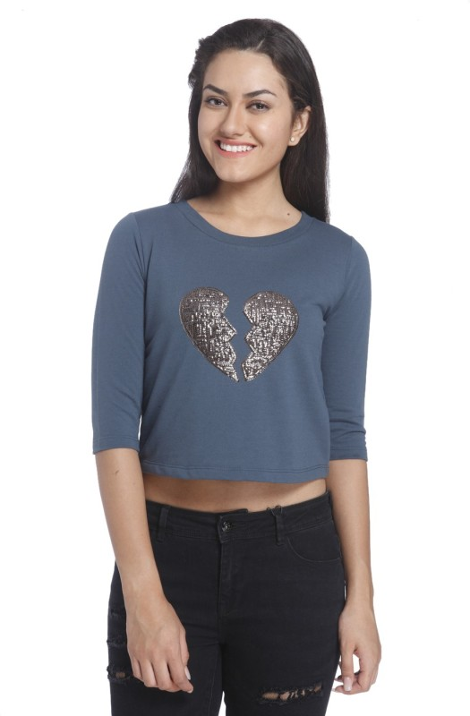 Only Casual 3/4 Sleeve Embellished Women Blue Top