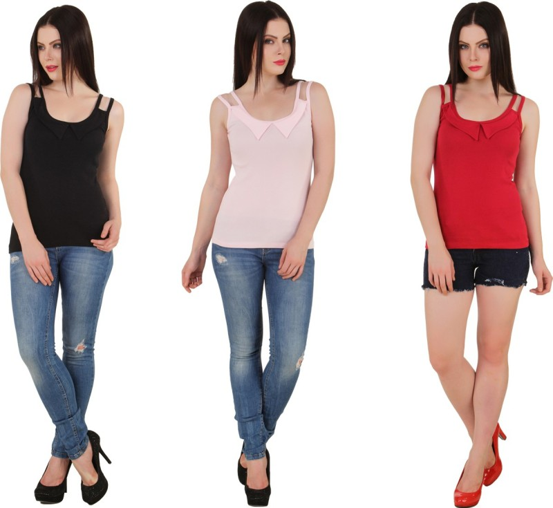Yati Casual Sleeveless Solid Women's Black, Pink, Red Top