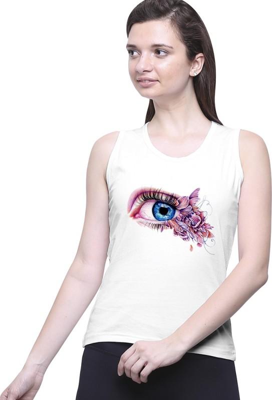 Uptown18 Casual Sleeveless Printed Women's White Top