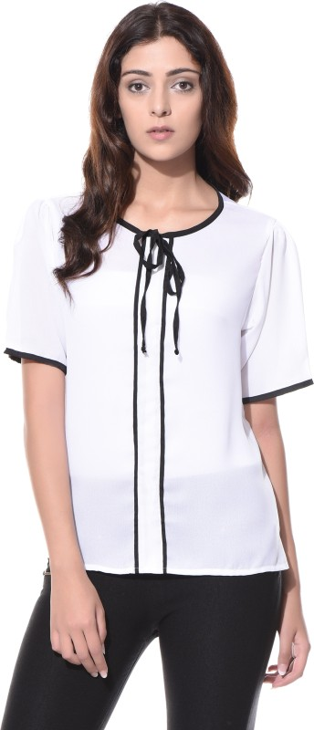 Miss Chase Casual Short Sleeve Solid Women White Top
