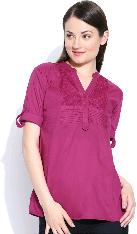 U&F Casual Roll-up Sleeve Solid Women Purple Top