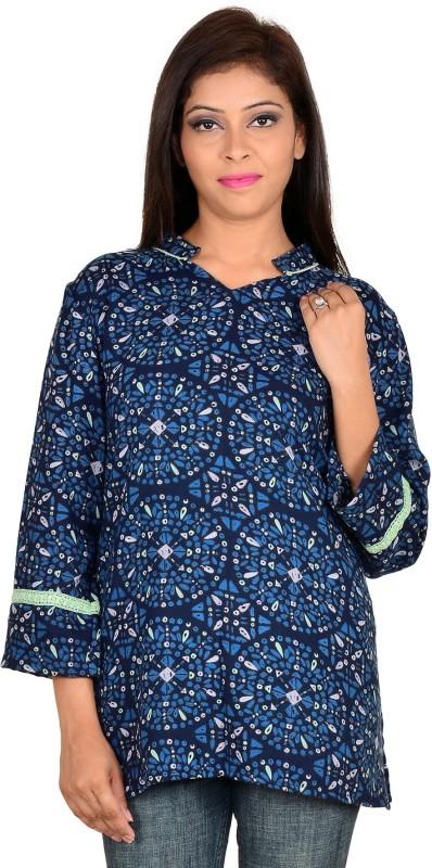 9teen Again Casual 3/4th Sleeve Printed Women's Blue Top