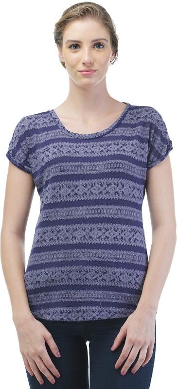 Merch21 Casual Short Sleeve Self Design Women Blue Top