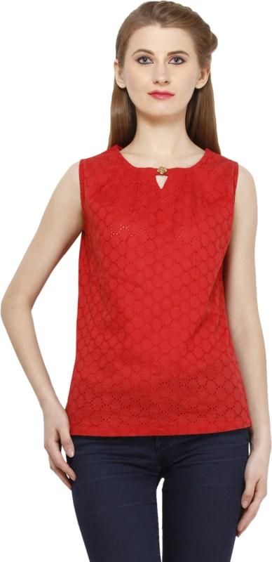 Peptrends Casual Sleeveless Self Design Women's Red Top