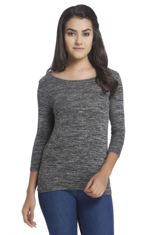 Only Casual 3/4 Sleeve Solid Women Black, Grey Top