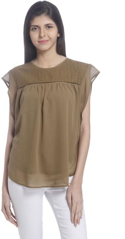 Vero Moda Casual Short Sleeve Solid Women's Brown Top