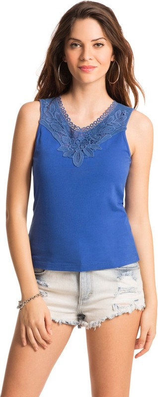 PrettySecrets Casual Sleeveless Solid Women Blue Top