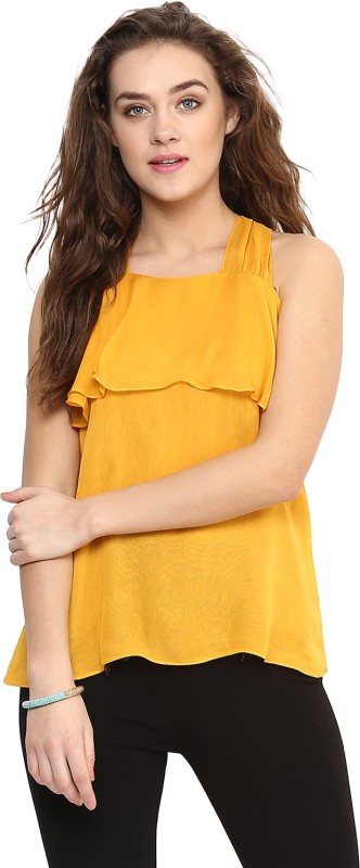 Uptownie Lite Party Sleeveless Solid Women's Yellow Top