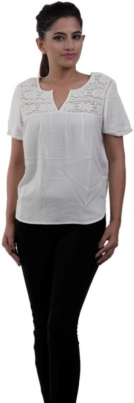 M&F Casual Short Sleeve Solid Women White Top