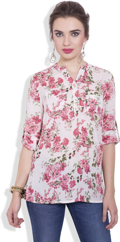 Pear Blossom Casual Roll-up Sleeve Floral Print Women Multicolor Top