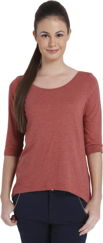 Only Casual 3/4 Sleeve Solid Women Maroon Top