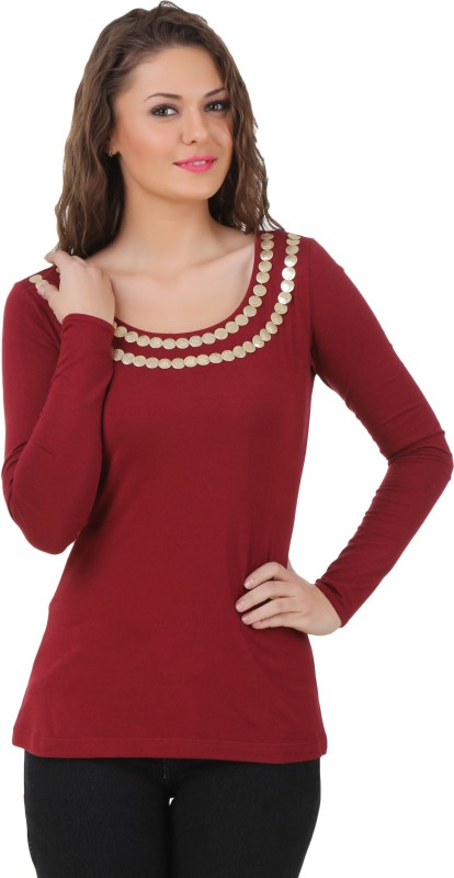 Texco Casual Full Sleeve Solid Women Maroon Top