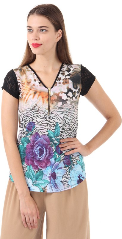 Just In Time Casual Regular Sleeve Floral Print Women Multicolor Top