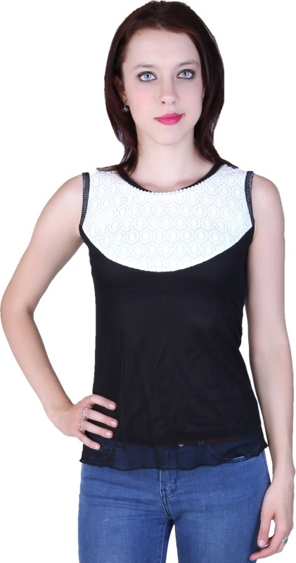 Zavi Casual Sleeveless Solid Women White, Black Top