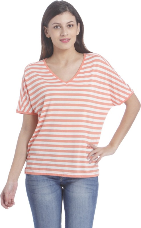Only Casual Short Sleeve Striped Women White, Orange Top