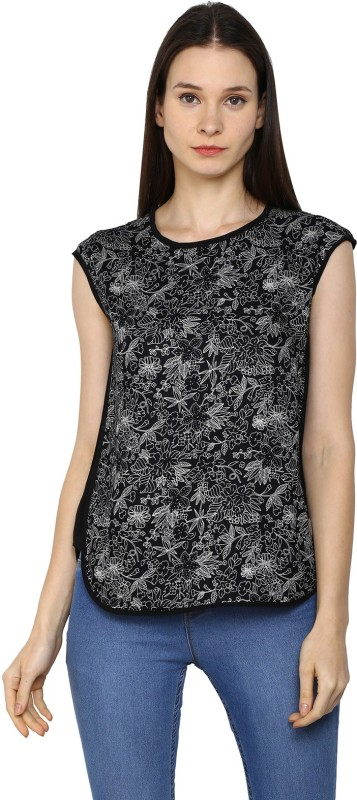 Arrow Casual Short Sleeve Printed Womens Black Top