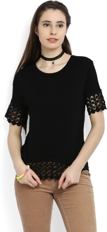 United Colors of Benetton Casual Short Sleeve Solid Women Black Top