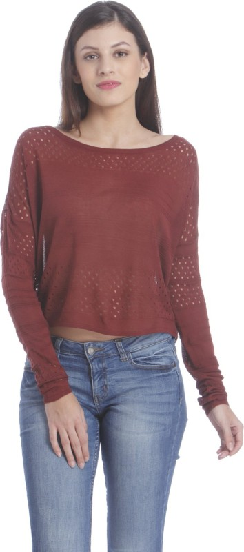Only Casual Full Sleeve Solid Women Maroon Top