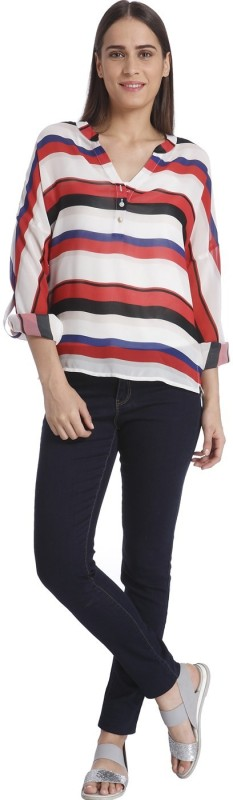 Vero Moda Casual Roll-up Sleeve Striped Women White Top
